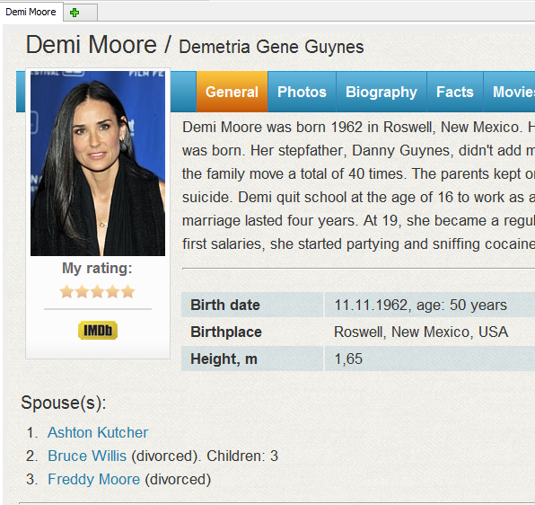 Feature movie information