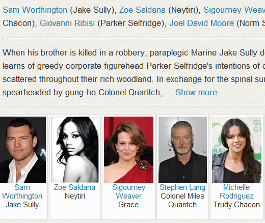 Example of actors on a movie page