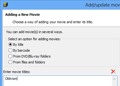 Options for adding movies