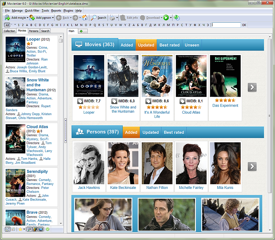 Movienizer home page