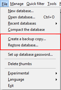 Back up and restore database