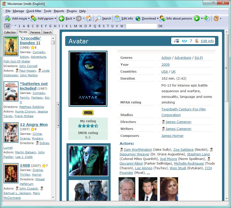 Кстати, о страницах интерфейс Movienizer напоминает интерфейс