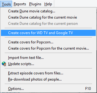 Create movie covers for WD TV